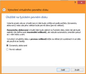 Centos 7 5. obrazovka instalace VM. Pevná velikost zabere celou zvolenou kapacitu na disku a je obvykle rychlejší při práci. Dynamicky alokované zvolí všichni majitelé SSD disků a majitelé menších pevných disků, kde není moc místa na zbyt