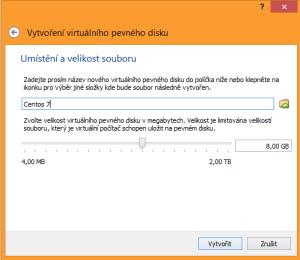 Centos 7 6. obrazovka instalace VM. Posuvníkem zvolíme velikost virtuálního pevného disku. Na obě virtuálky nám stačí klidně standardních 8 GB, kdo chce víc, může nastavit třeba 15GB, kdo méně, přežije na Centos 7 i se 4 GB, na Ubuntu doporučím alespoň 8 GB.