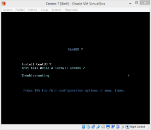 Instalační obrazovka Centos 7